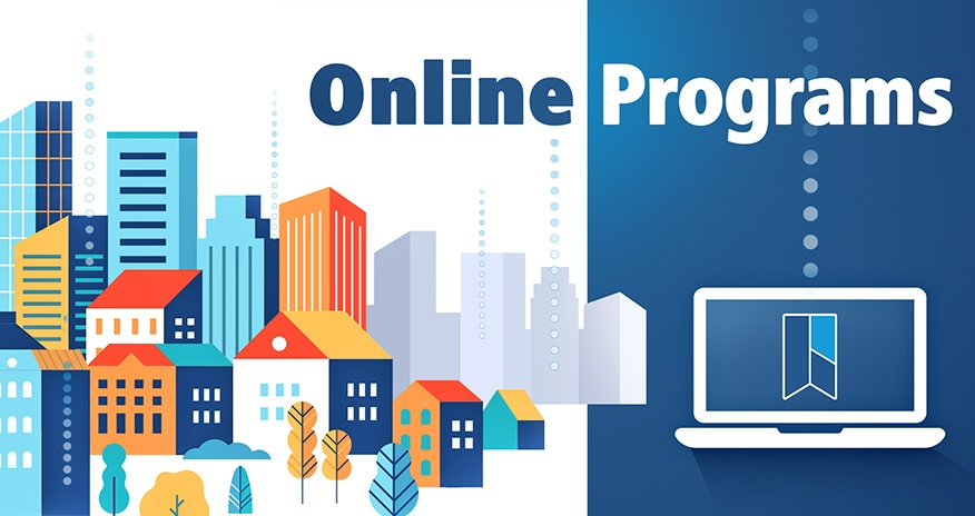 A city and a laptop computer with the text Online Programs and the HPL logo.