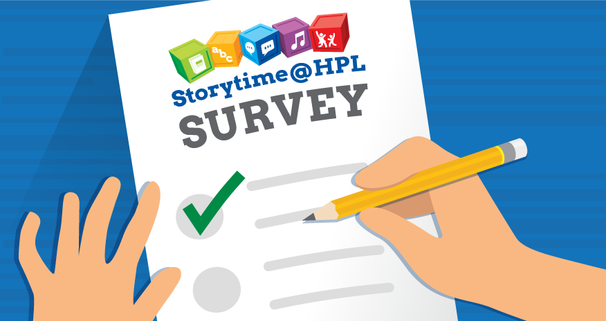illustration of a survey form with heading storytime at hpl survey