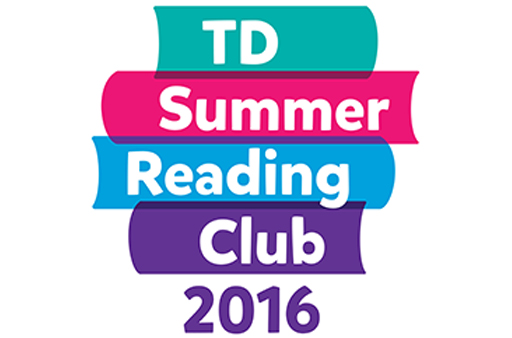 a stack of stylized books with text TD Summer Reading Club 2016